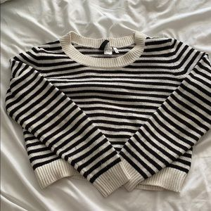 Cropped B&W Striped Sweater